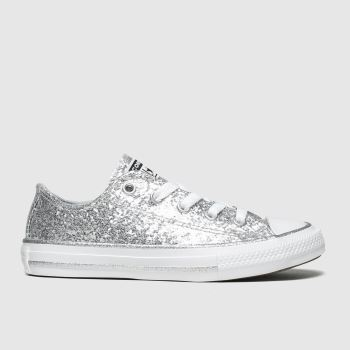 Converse silver all star lo glitter trainers junior