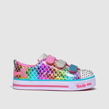 Skechers Silver & Pink Twinkle Lite Girls Junior