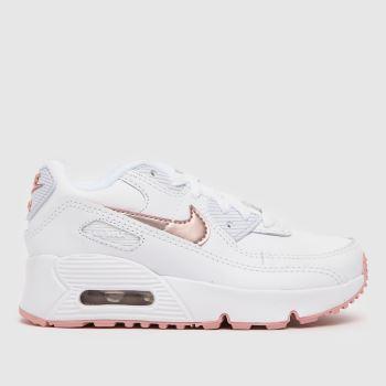 Nike White Air Max 90 Ltr Girls Junior