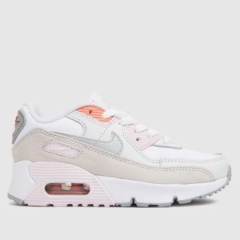 Nike White & Silver Air Max 90 Ltr Girls Junior