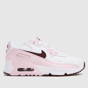 Nike White & Pink Air Max 90 Ltr Girls Junior