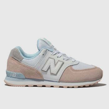 New Balance White & Pink 574 Girls Junior