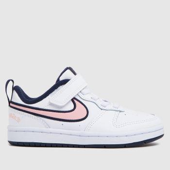 Nike White & Pink Court Borough Low 2 Se Girls Junior