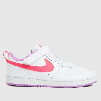 Nike White & Pink Court Borough Low 2 Girls Junior