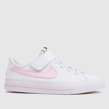 Nike White & Pink Court Legacy Girls Junior