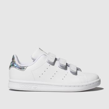 Adidas White & Silver Stan Smith c2namevalue::Girls Junior