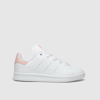 adidas white & pink stan smith trainers junior
