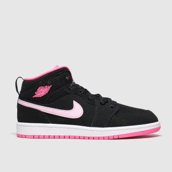 Nike Jordan Black & pink 1 Mid Girls Junior