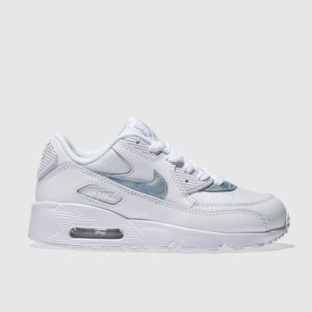 Nike White & Pl Blue AIR MAX 90 MESH Girls Junior