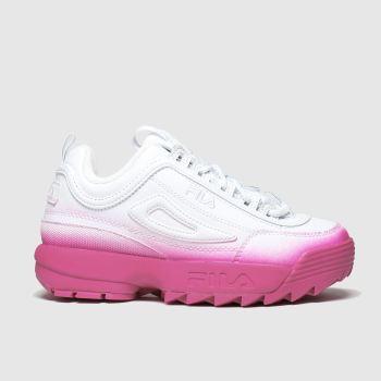 Girls White \u0026 Pink Fila Disruptor Ii
