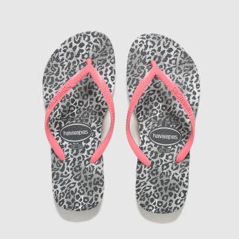 Havaianas Pink & Black Slim Leopard Girls Junior