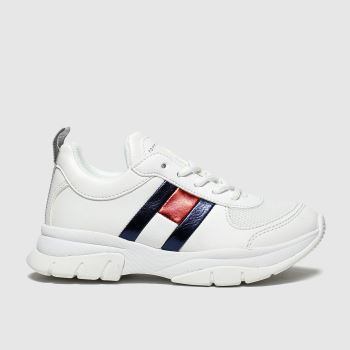 Tommy Hilfiger White & Navy Lace Up Sneaker Girls Junior