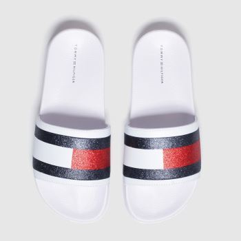 Tommy Hilfiger White & Navy Flag Print Pool Slide c2namevalue::Girls Junior