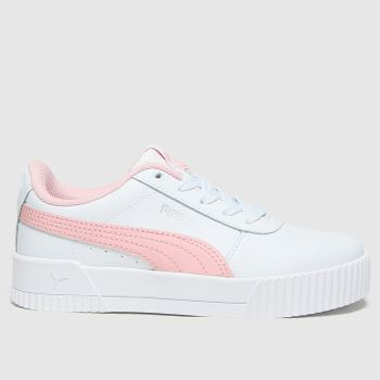 PUMA White & Pink Carina L Girls Junior