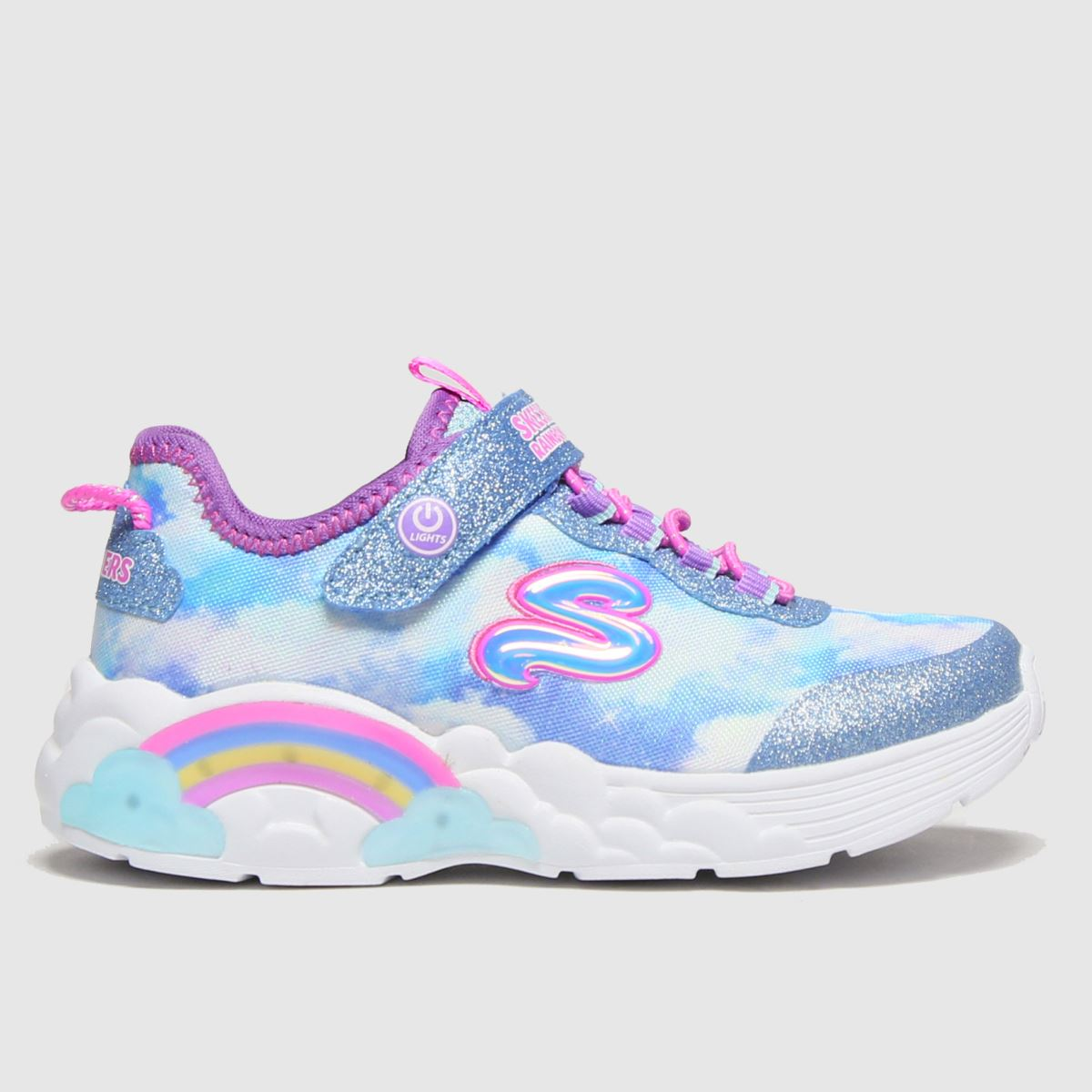 SKECHERS Pale Blue Rainbow Lacer Trainers Junior