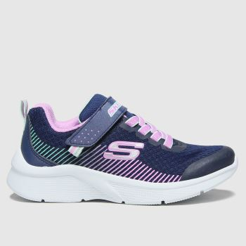 SKECHERS Navy & White Microspec Girls Junior