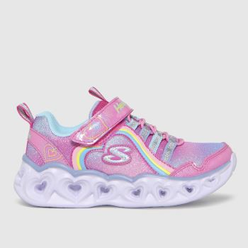 SKECHERS Pink Heart Lights Rainbow Lux Girls Junior