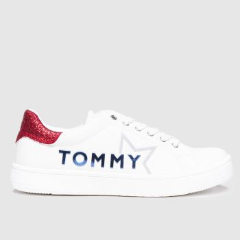Tommy Hilfiger White & Red Low Cut Lace-up Sneaker Girls Junior