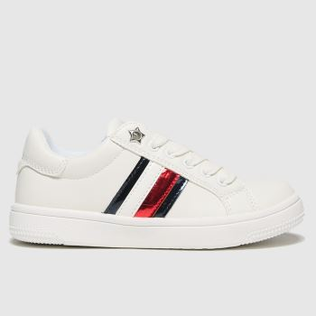 Tommy Hilfiger White & Navy Low Cut Lace-up Sneaker Girls Junior