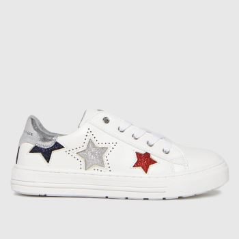 Tommy Hilfiger White & Silver Low Cut Lace-up Sneaker Girls Junior