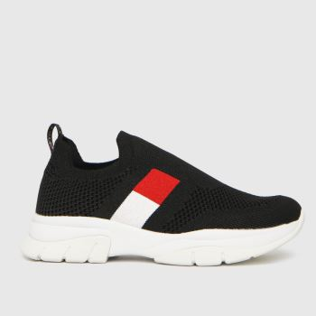 Tommy Hilfiger Black & Red Low Cut Sneaker Girls Junior
