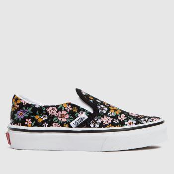 Vans Black & White Classic Slip-on Floral Girls Junior