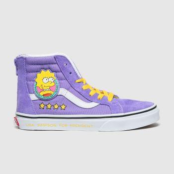 Vans Lilac Sk8-hi Zip Simpsons Girls Junior