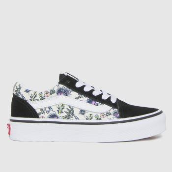 Vans white & black old skool floral trainers junior