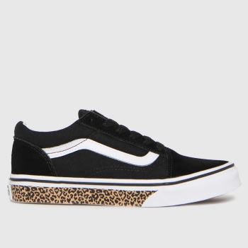Vans Black & White Old Skool Leopard Girls Junior