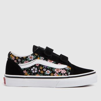 Vans multi old skool v floral trainers junior