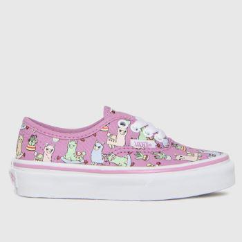 Vans Pink Authentic Llamas Girls Junior
