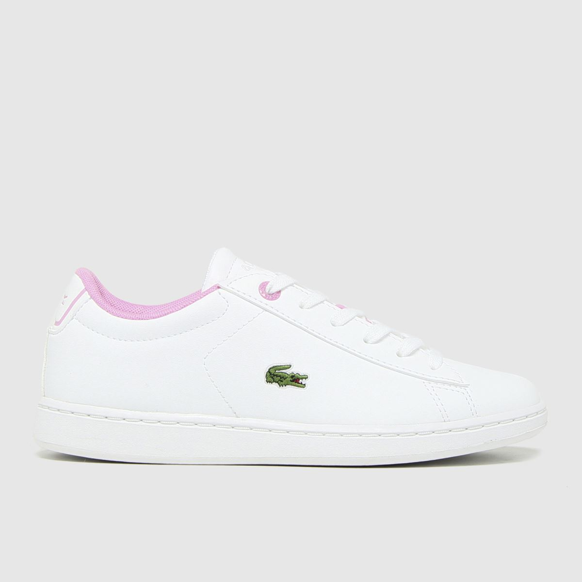 Lacoste White & Pink Carnaby Evo Trainers Junior