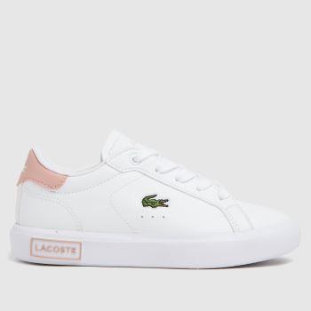Lacoste White & Pink Powercourt Girls Junior