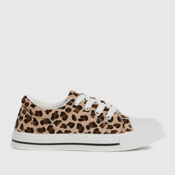 schuh Tan Maxi Leopard Lace Up Girls Junior
