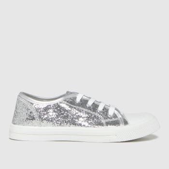 schuh Silver Majestic Glitter Lace Girls Junior