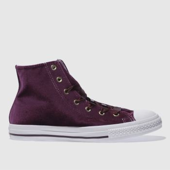 CONVERSE BURGUNDY ALL STAR VELVET HI GIRLS YOUTH TRAINERS
