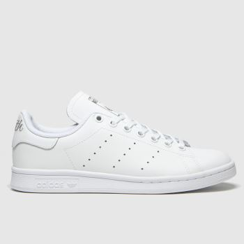 Adidas White & Silver Stan Smith Girls Youth#