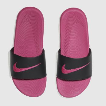 8da7c212eb6410 Girls black   pink nike kawa slide trainers