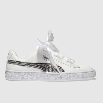 Puma White & Silver Basket Heart Bling Girls Youth