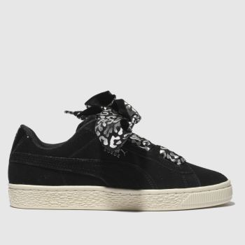 Puma Black & Silver Suede Heart Athluxe Girls Youth