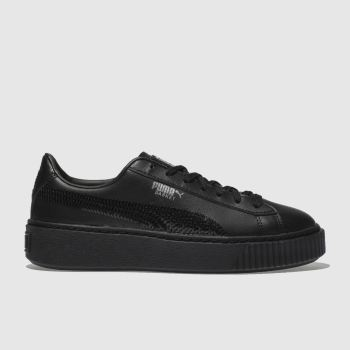 Puma Black Basket Platform Bling Girls Youth