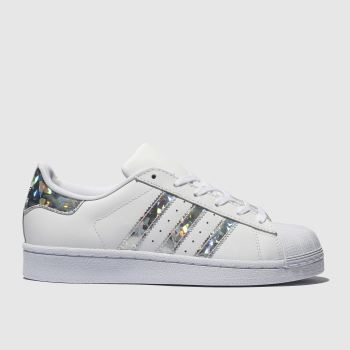 Adidas White   Silver Superstar Girls Youth 388ac22513