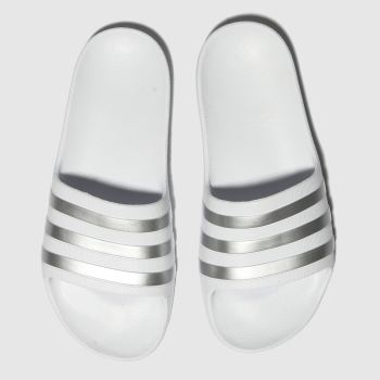 adidas White & Silver Adilette Aqua Girls Youth