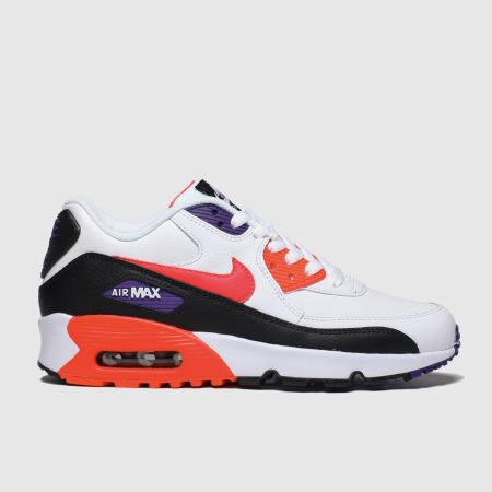 nike white & red air max 90 leather trainers youth