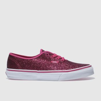 VANS PINK AUTHENTIC GLITTER TRAINERS YOUTH