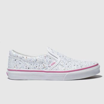 Vans White & Silver Classic Slip-On Girls Youth