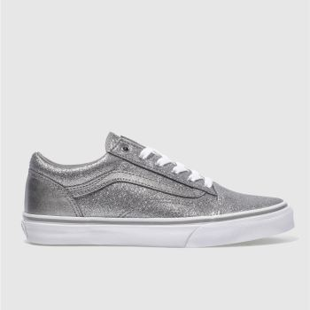 VANS SILVER OLD SKOOL GIRLS YOUTH TRAINERS