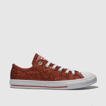 Converse Red All Star Ox Glitter Girls Youth
