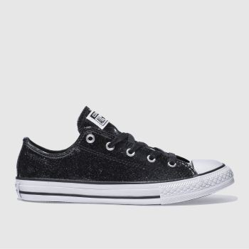 CONVERSE BLACK ALL STAR OX GLITTER TRAINERS YOUTH