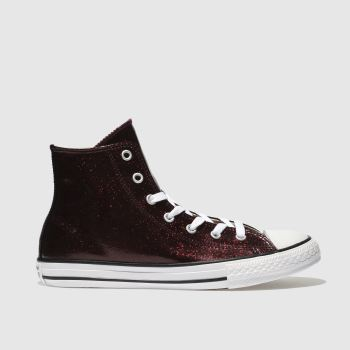 Converse Burgundy All Star Hi Glitter Girls Youth